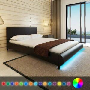 vidaXL Estrutura de cama com LEDs 140×200 cm couro artificial preto