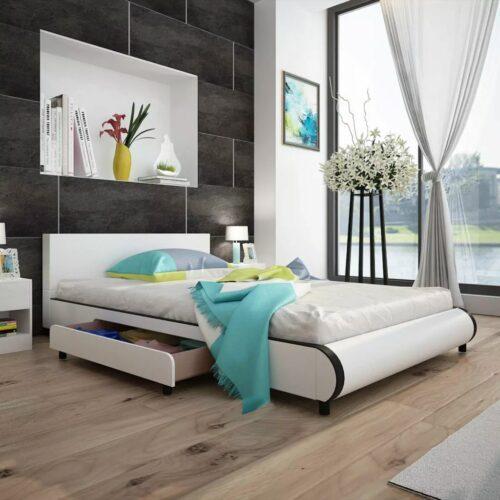 vidaXL Estrutura de cama com gavetas 140x200cm couro artificial branco
