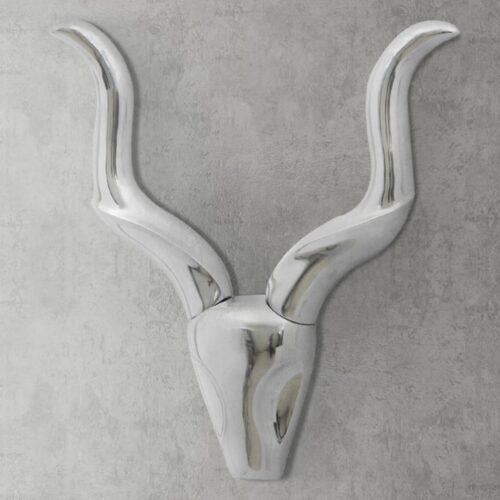 Decoração parede cabeça de gazela alumínio prateado 50 cm