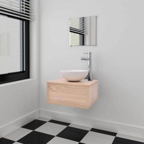 vidaXL Móveis casa de banho 3 pçs e conjunto de bacia bege