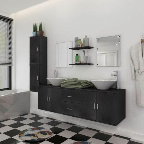 vidaXL Móveis casa de banho 9 pçs e conjunto de bacia, preto