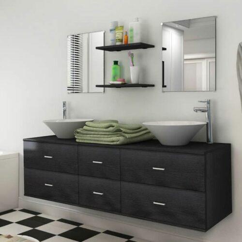 vidaXL Móveis casa de banho 7 pcs e conjunto lavatório preto