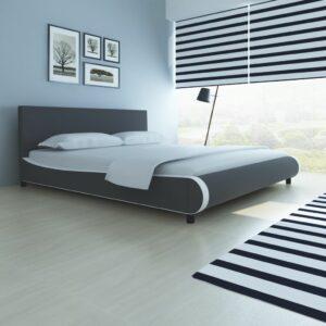 vidaXL Cama com colchão couro artificial 180x200cm cinzento