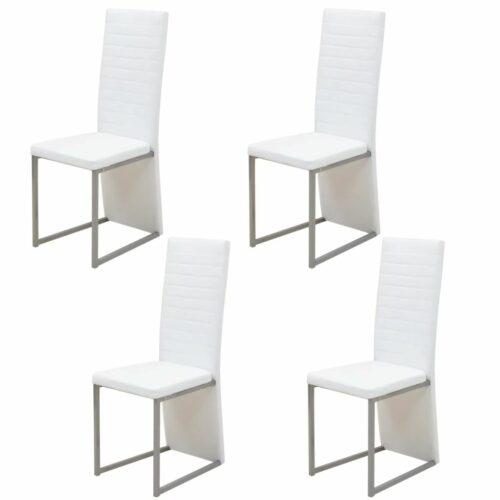 vidaXL Cadeiras de jantar 4 pcs branco