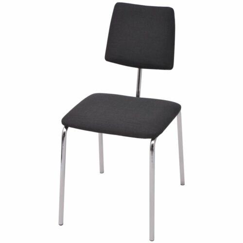 vidaXL Cadeira de jantar em tecido preto