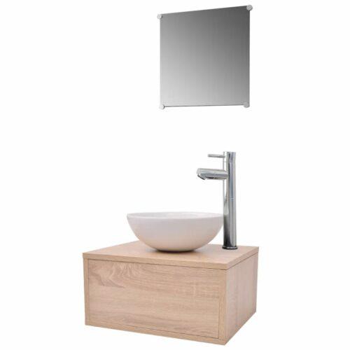 Conjunto móveis casa de banho 4 pcs com bacia e torneira, bege