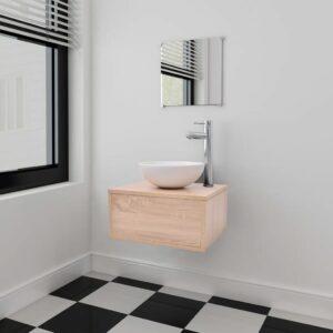 vidaXL Conjunto móveis casa de banho 4 pcs com bacia e torneira, bege