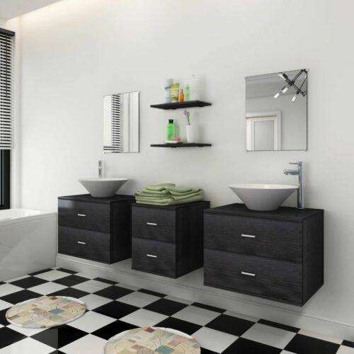 Conjunto móveis casa de banho 9 pcs com bacia e torneira preto