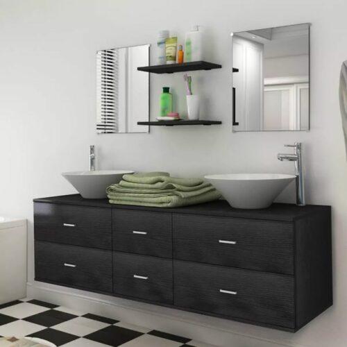 vidaXL Conjunto móveis casa de banho 9 pcs com bacia e torneira preto