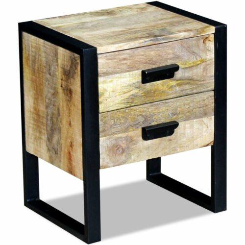 vidaXL Mesa apoio 2 gavetas madeira de manga sólida 43x33x51 cm