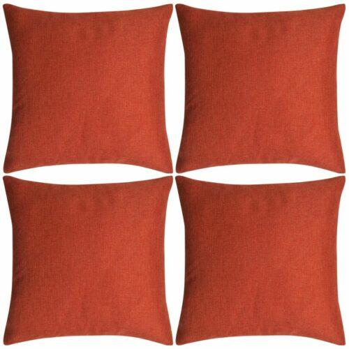 vidaXL Capa de almofada 4 pcs aspeto de linho 40×40 cm terracota