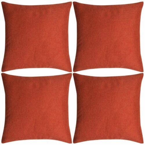 vidaXL Capas de almofada 4 pcs, aspeto linho, terracota 80×80 cm