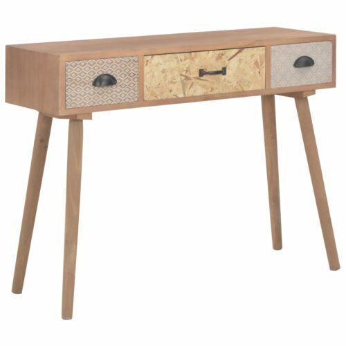 vidaXL Mesa consola com 3 gavetas 100x30x73 cm madeira de pinho maciça