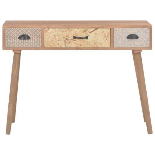 Mesa consola com 3 gavetas 100x30x73 cm madeira de pinho maciça
