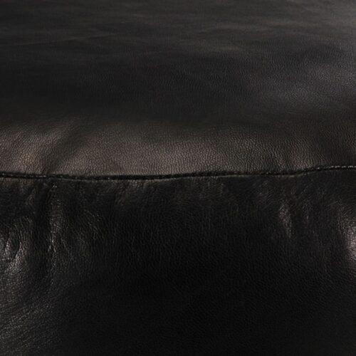 Pufe 60×30 cm couro de cabra genuíno preto