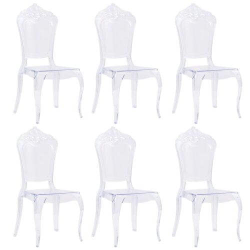 vidaXL Cadeiras de jantar 6 pcs policarbonato transparente