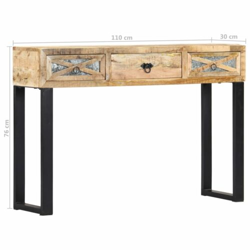 Mesa consola 110x30x76 cm madeira de mangueira maciça