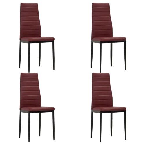 vidaXL Cadeiras de jantar 4 pcs couro artificial bordô