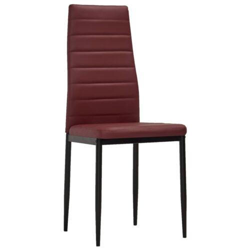 Cadeiras de jantar 4 pcs couro artificial bordô