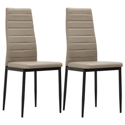 vidaXL Cadeiras de jantar 2 pcs couro artificial cappuccino