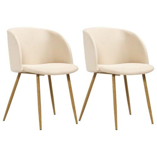 vidaXL Cadeiras de jantar 2 pcs tecido cor creme