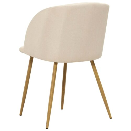 Cadeiras de jantar 2 pcs tecido cor creme