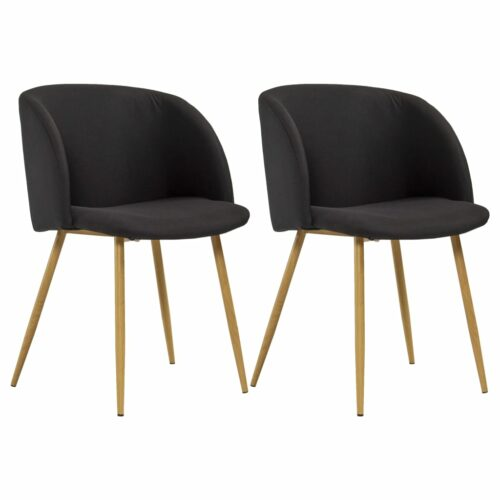 vidaXL Cadeiras de jantar 2 pcs tecido preto