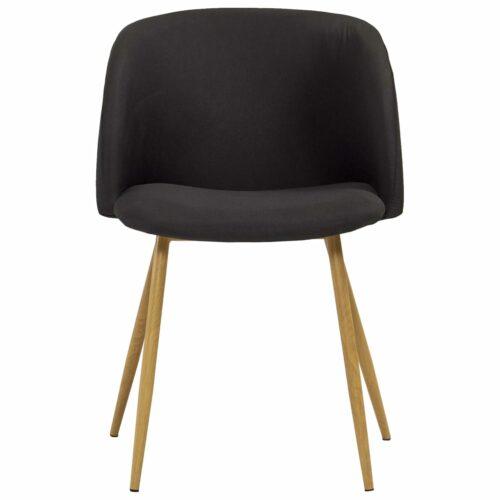Cadeiras de jantar 2 pcs tecido preto