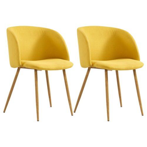 vidaXL Cadeiras de jantar 2 pcs tecido amarelo