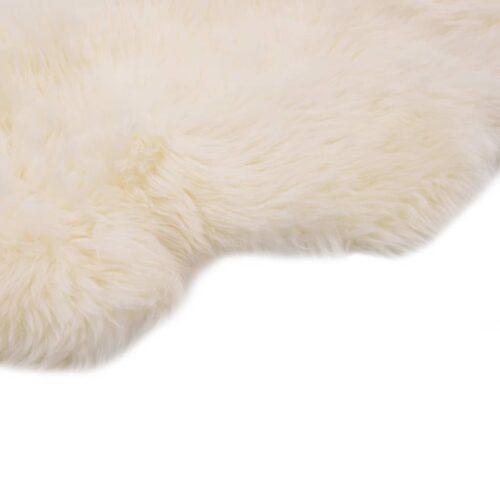 vidaXL Tapete em pele de carneiro 60×90 cm branco