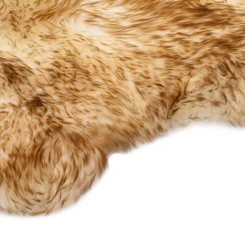 Tapete em pele de carneiro 60×90 cm castanho mesclado