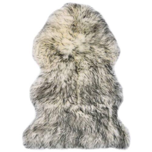 vidaXL Tapete em pele de carneiro 60×90 cm cinzento-escuro mesclado