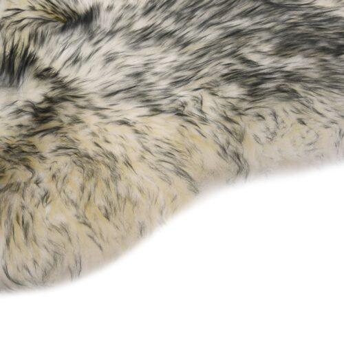 Tapete em pele de carneiro 60×90 cm cinzento-escuro mesclado