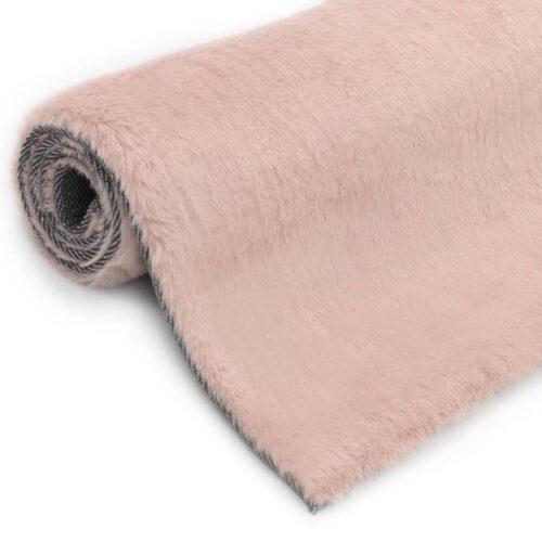 vidaXL Tapete em pele de coelho artificial 80×150 cm rosa velho