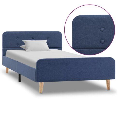 vidaXL Estrutura de cama em tecido azul 90×200 cm