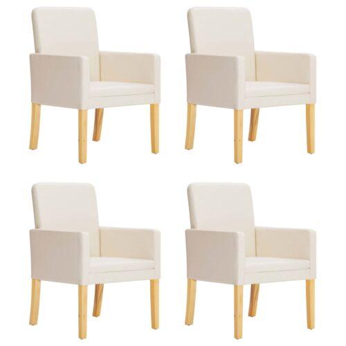 vidaXL Cadeiras de jantar 4 pcs couro artificial creme