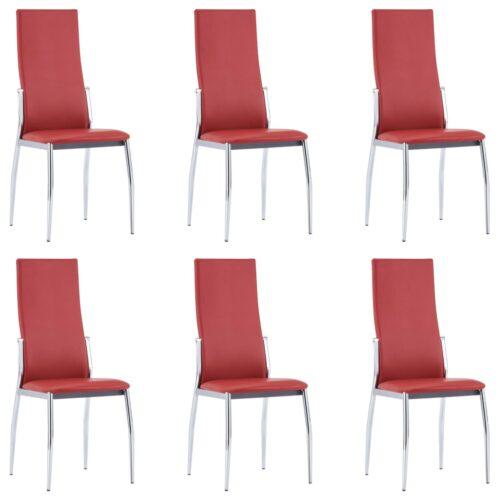 vidaXL Cadeiras de jantar 6 pcs couro artificial vermelho