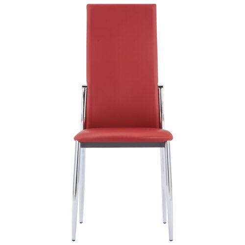 Cadeiras de jantar 6 pcs couro artificial vermelho