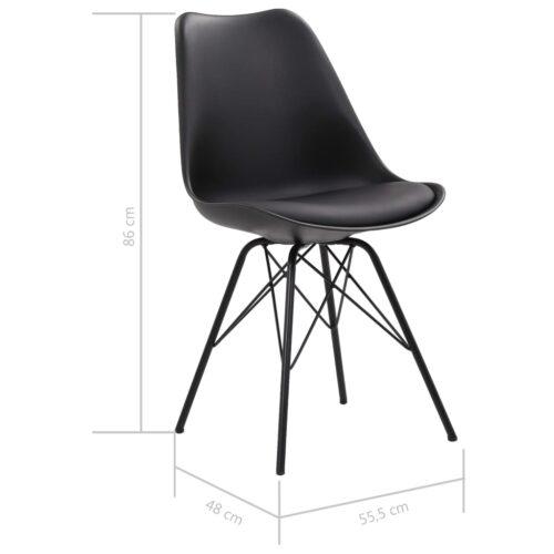 Cadeiras de jantar 6 pcs couro artificial preto