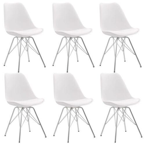 vidaXL Cadeiras de jantar 6 pcs couro artificial branco