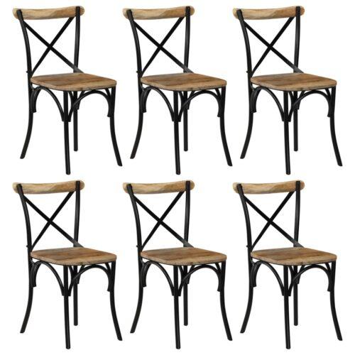 vidaXL Cadeiras costas em cruz 6 pcs madeira mangueira maciça preto
