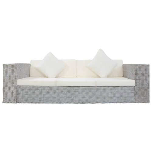 vidaXL 2 pcs conjunto de sofás com almofadões vime natural cinzento