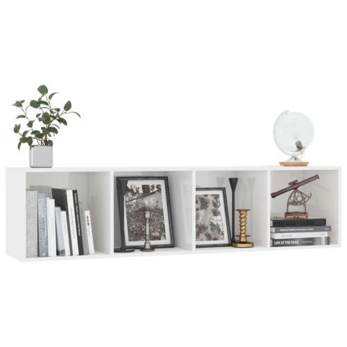 Estante/móvel de TV 143x30x36 cm contraplacado branco brilhante